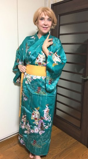 "Photo1: Dancing Girls  ""Kimono"" robe XL ( Wide Size )"