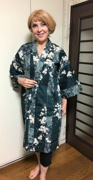"Photo1: Cherry Blossom  ""Happi-coat"" robe"